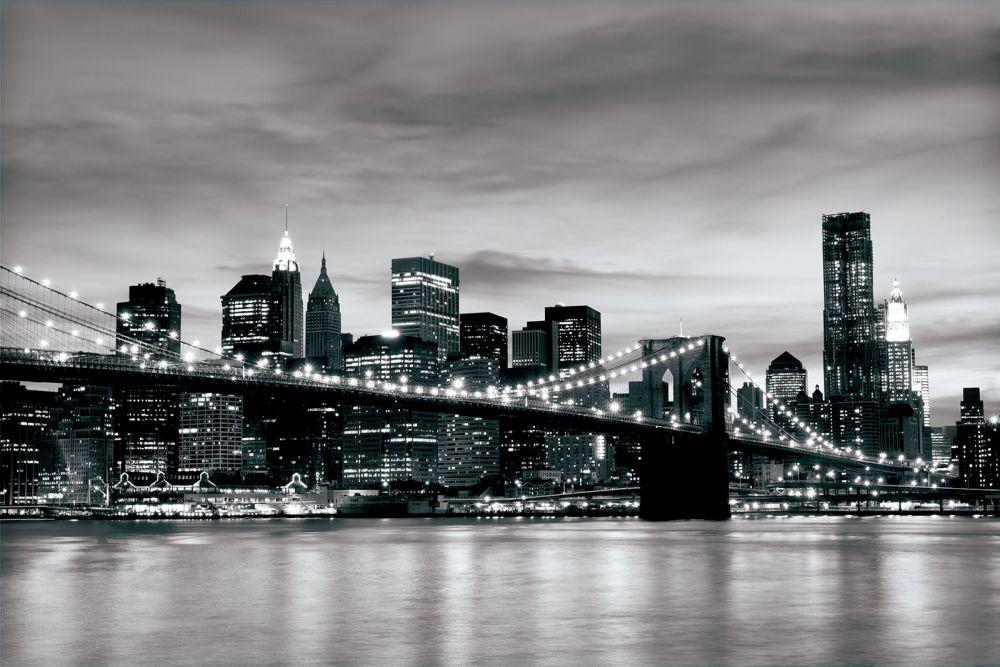 Fototapeta czarno bia a brooklyn bridge 226ve - Toile pont de brooklyn ...